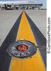 Light on taxiway - Detailed view light on taxiway at airport...