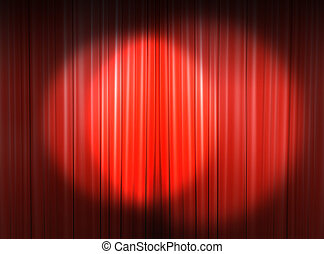 light on the main stage - Red curtain of a classical theater...