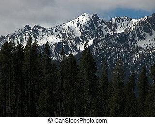 Light is spotlighting Idaho's beautiful Sawtooth Mountains near Stanley.