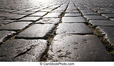 light on the stone pavement