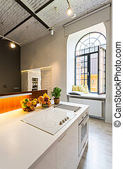 Light open kitchen with industrial look - Industrial style...