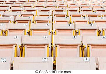 Light Orange Seat. - A lot of Light Orange Seat at football ...