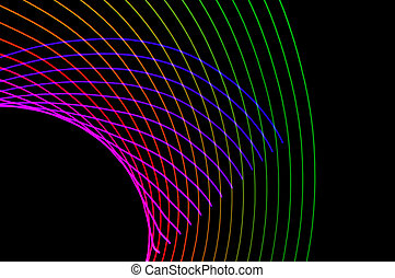 Light painting. Abstract, futuristic, colorful long exposure, black background-24