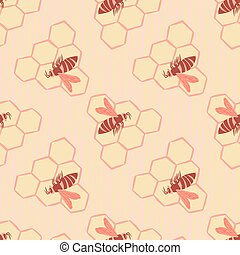 Light pastel seamless pattern with honeycombs and bees ornament. Simple print in pink palette.