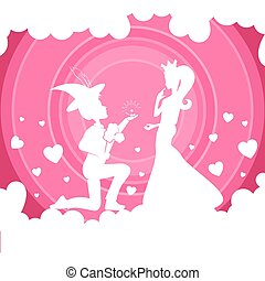 Light pink composition with a girl in a crown and a boy on her lap,