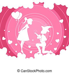 Light pink composition with a girl with balloons and a boy on her lap,