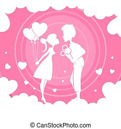 Light pink composition with a girl with balloons and a boy with flowers.