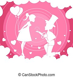 Light pink composition with a girl with balloons and a boy with flowers on her lap,