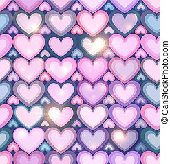 Light pink hearts shining seamless pattern