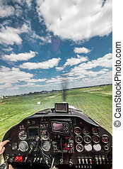 Light plane landing - View from the pilot's seat in the...