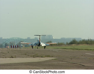 Light plane taking off from a runway view - Light aircraft...