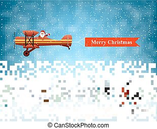 light plane with Santa claus fly over the forest, house, snowman and pulled merry christmas banner . Christmas card, invitation, background, design template.