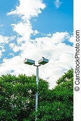 light pole at park in nice blue sky
