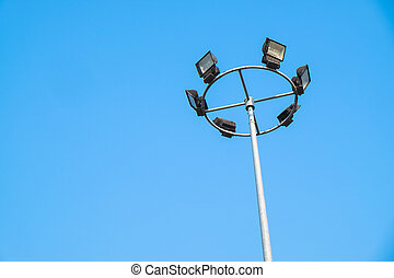 light pole on blue background