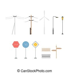 Light posts, traffic signs, direction pointers, fences, windmill, collection of city street landscape design elements vector Illustration