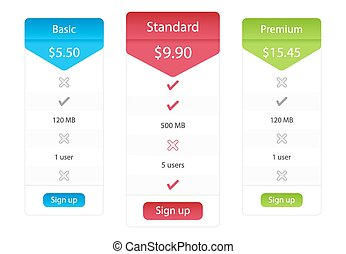 Light pricing list with 3 options and one recommended plan -...