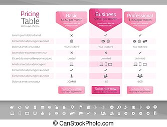 Light pricing table in pink color with 3 options. Icon set included