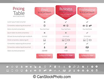 Light pricing table in red color with 3 options. Icon set included