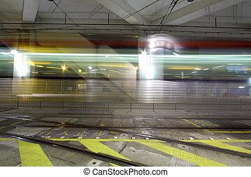 Light rail in Hong Kong at night