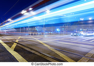 Light rail, one kind of transportation in Hong Kong at night