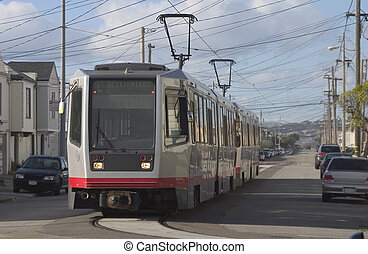 Light Rail - A group of light rail cars makes their way...