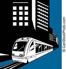 Light rail with buildings - Illustration on rail transport