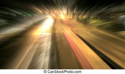 Light Ray Effect of Long Exposure of Interstate Freeways in...