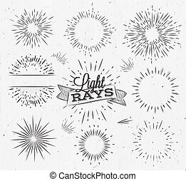 ray of light clipart. light ray vintage set in style stylized of clipart