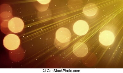 light rays and bokeh circles golden loopable background