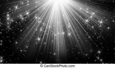 light rays and stars on black loopable background