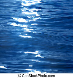 Light reflection on blue water