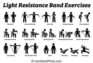 Light resistance band exercises and stretch workout techniques in step by step.