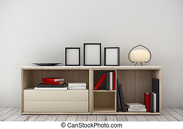 Light room interior with cabinet