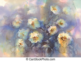 light roses in grey background watercolor