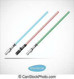 Light Saber - Futuristic Weapon - Blue, Red, Green Light...