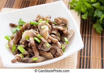 light salad of pickled mushrooms