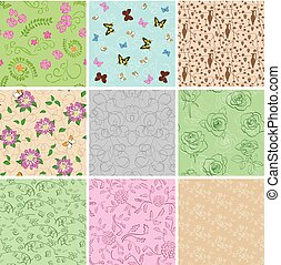 light seamless patterns with plants and butterflies - set of vector backgrounds