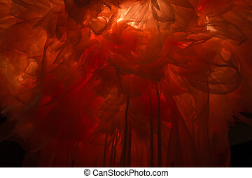 Light shines through red cloth abstract artistic texture background
