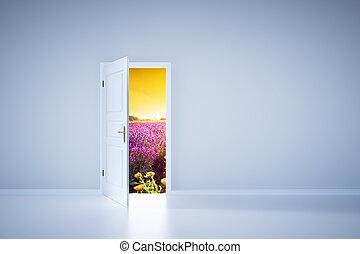 Light shining from open door. Entrance - Open door to...