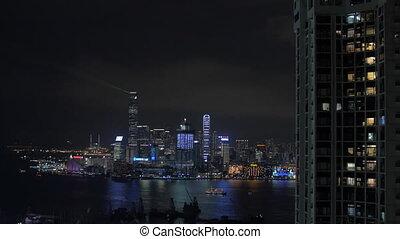 Light show in Hong Kong at night