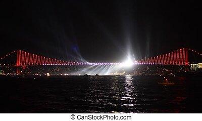Light Show in Istanbul, Turkey - Bosphorus Bridge's spot...