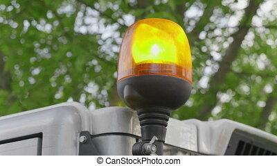 Light signal on special equipment orange light siren. Video...