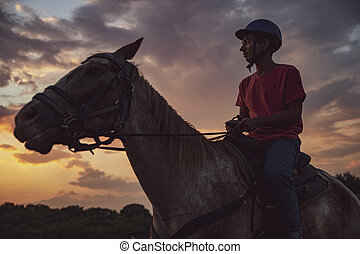 Light Silhouette From a Man Sitting on a Horse and Gazing the Sky