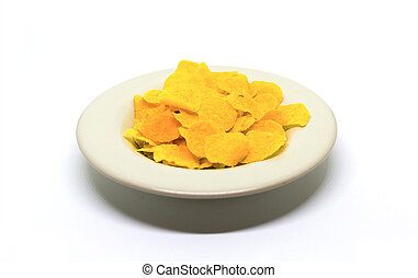 Light snack corn flakes delicious and healthy breakfast lunch on white background