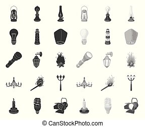 Light source black. mono icons in set collection for design. Light and equipment vector symbol stock web illustration.