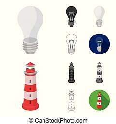 Light source cartoon, black, flat, monochrome, outline icons in set collection for design. Light and equipment vector symbol stock web illustration.