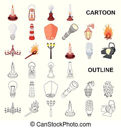 Light source cartoon icons in set collection for design. Light and equipment vector symbol stock web illustration.