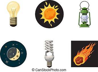 Light source icon set, cartoon style