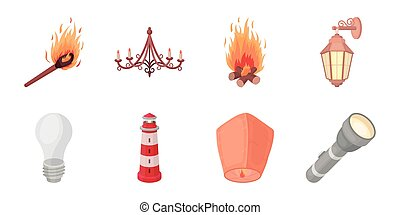 Light source icons in set collection for design. Light and equipment vector symbol stock web illustration.