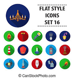 Light source set icons in flat style. Big collection of light source bitmap, raster symbol stock illustration